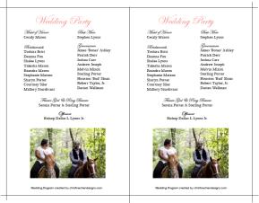 Cassie & Dallas Wedding Program Back