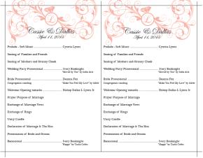 Cassie & Dallas Wedding Program Front
