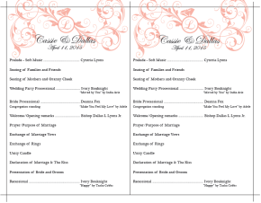 Cassie & Dallas Wedding Program Front
